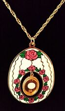 "Retro Necklace Pendant Large Oval with Roses/Oval Frame 24"" Gold Plated Chain"