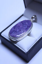 Natural Charoite Pendant in a Sterling Silver (925) Setting