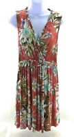 Spense Womens Dress Orange Floral Sleeveless V Neck