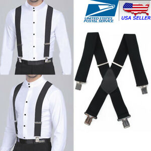 Mens Braces Suspenders Black X-shape Heavy Duty Biker Snowboard Trousers Wide 2""