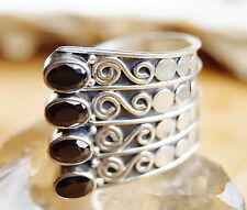 Breit Silberring 59 - 65 offen Rauchquarz Braun Handarbeit Silber Ring Verspielt