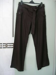 NEXT Brown Linen Maternity Trousers Low Rise Long Size 12 R BNWT (K11)
