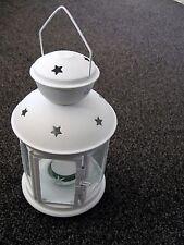 White Christmas Star Lantern Tea Light Votive Hinged Door Glass Panels
