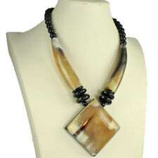 Tribal style natural buffalo horn oversized big pendant bead choker necklace