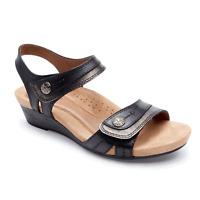 Women's ROCKPORT Cobb Hill Hollywood Black Leather Hook/Loop Adjustable Sandals