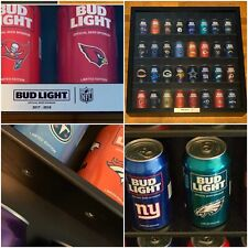 """Bud Light Nfl Cans 2017 To 2018 Wood Official Display Case New 28� X 28 """" x 5�"""