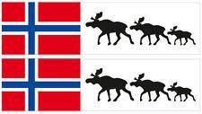 Kfz-Aufkleber Flagge Norwegen/Elch Set RB