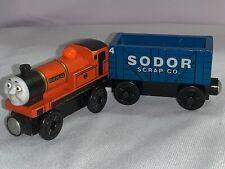 Thomas Wooden Train Engine Lot Rare Rheneas & Blue Sodor Scrap Car Wood
