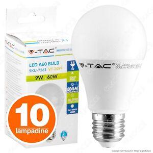 10 LAMPADINE LED V-Tac E27 9W Goccia Sfera Lampade LUCE Calda Naturale Fredda