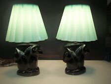 Vintage Mid Century horse head table lamps w/ robin egg blue shades
