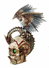 Steampunk Dragon Perching On Head Skull Mechanical Steampunk Collectible