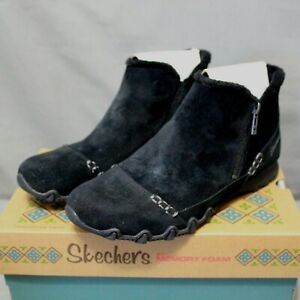 SKECHERS Women's zip up flats black suede EARTHY CHIC ankle boots size 11 W New