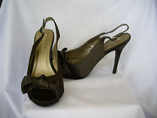 EMERSON SHOES 8 BLACK SATIN OPEN TOE BOW SPECIAL OCCASION STILETTO 12CM HEAL