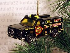 BIOHAZARD REMOVAL AMBULANCE TRUCK BLACK YELLOW CHRISTMAS ORNAMENT XMAS