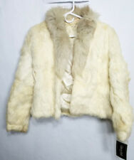 vintage women's white rabbit fur short wasted coat size large New with Tags