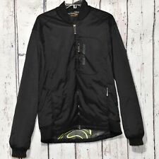 Salomon Black Ski Snowboard Jacket Men's Sz Large Full Zip Soft Shell Spell Out