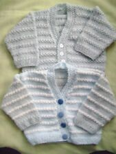 "2 New Hand Knitted Blue Cardigans 18/20"" chest"