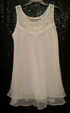 NWOT VICTORIA'S SECRET Sheer White Sequin Lingerie Babydoll Nightgown Small
