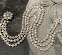9ct Gold Pearl Necklace Triple Three Row Cultured 5mm Pearl Strand Choker