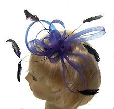 violet multi boucles et plume peigne bibi pour mariages