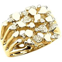 Men's Nugget Design Band Ring created  in 14K. Solid Yellow Gold Size 11 Sizable