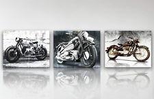 3x Bilder BMW Oldtimer Motorrad Abstrakte Bilder Leinwand Kunst Wandbild 1613A