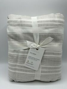 New Pottery Barn Hawthorn Striped Cotton Full/Queen Duvet Cover  ~Taupe~