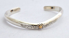 "925 Sterling Silver Cuff Bangle Bracelet with Sun. 6.1"", 15.5 cm,  25 grams"