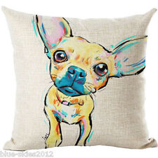 CHIHUAHUA DOG Pup LINEN-COTTON Pastel Painting Printed New CUSHION COVER UK Sale