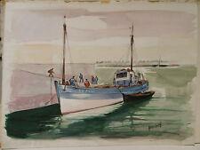 """Tableau Peinture Aquarelle PIERRE ABADIE LANDEL """" Finistère"""" France PAL11"""