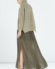 ZARA LONG MAXI SKIRT OLIVE GREEN CHIFFON SLIT STRUCTURED SIZE M UK 10 12