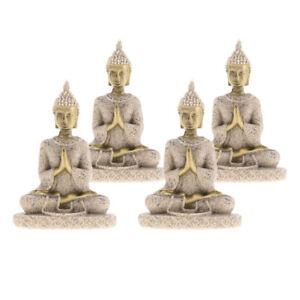 4 Pcs Asian Thailand Buddha Statue Sculptures Figurine Home Decoration