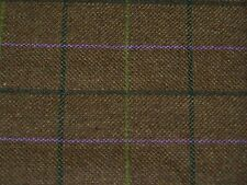 Brown windowpane check wool tweed fabric by m