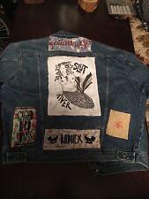 Punk Blue Jean Jacket D-Beat Crust Denim Battle Patches Pins Vintage
