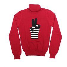 Women's Moschino Sweater Red Black Glove Appliqué Roll Neck Size 8