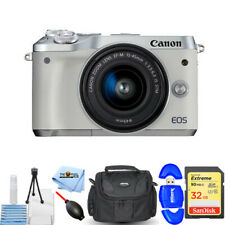 Canon EOS M6 Mirrorless Digital Camera with 15-45mm Lens (White) - 32GB Bundle