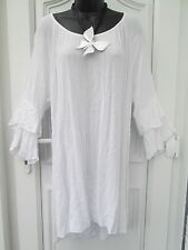 New Lagenlook white  flared sleeve long tunic Dress top uk 16 18 20 22 24