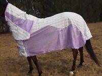 Borraq Summer Poly Cotton Mesh Crossover  Paddock Horse Rug COMBO