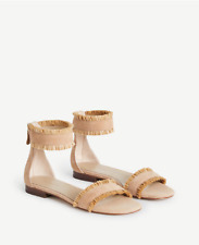 Ann Taylor Sz 9 Fern Rafia Suede Sandals Caramel Tan Ankle Strap Back Zip NIB