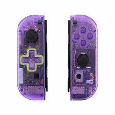 Clear Atomic Purple Full Shell Case W/ Buttons Dpad for Nintendo Switch Joy-Con