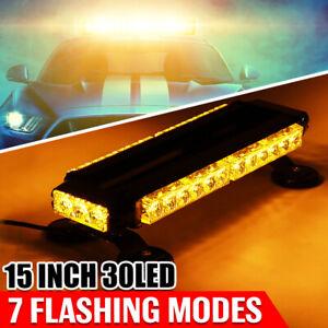 """15"""" 30W LED Work Light Bar Beacon Tow Truck Emergency Warning Strobe Light AMBER"""