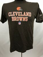 CLEVELAND BROWNS Reebok Mens T-Shirt Size S Brown NFL Tee Cotton Polyester S/S