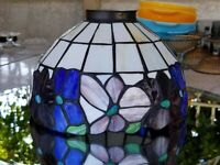 """Large Leaded Slag Glass Dome Panel Lamp Shade Arts Crafts Tiffany Style 9.75""""D"""