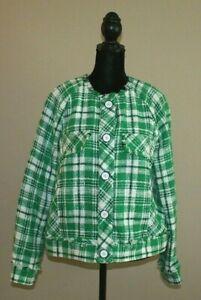 CABi Womens Sophia Library Jacket Medium 5653 Green Plaid Cotton