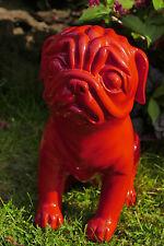 hund,dog,mops,33x26x15cm,deko,rot,red,polyresin,kunst,tier,skulptur,figur