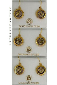 Damascene Gold Eight Point Star Design Round Earrings by Midas of Toledo Spain