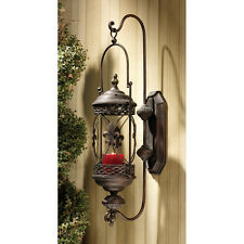 French Accent Fleur De Lis Metalwork Hanging Pendant Candle Holder Wall Lantern