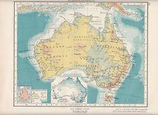 1923 MAP ~ AUSTRALIA PHYSICAL ~ RAINFALL HEIGHTS & DEPTHS QUEENSLAND VICTORIA