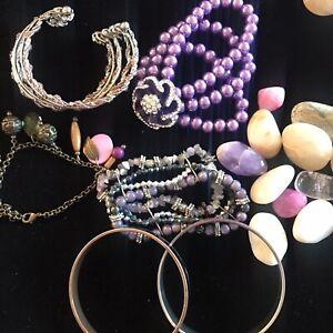 6 x Bangle Bundle Purple Bracelets Cuff Lilac Pink Chunky Faux Pearl Silver Y2K