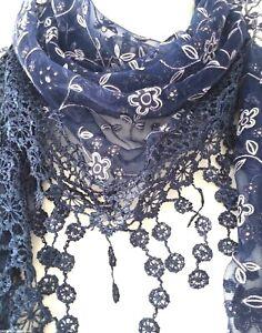 Navy blue Triangle Scarf Ladies Floral Scarf Tassel Trim Dark Blue White Silver